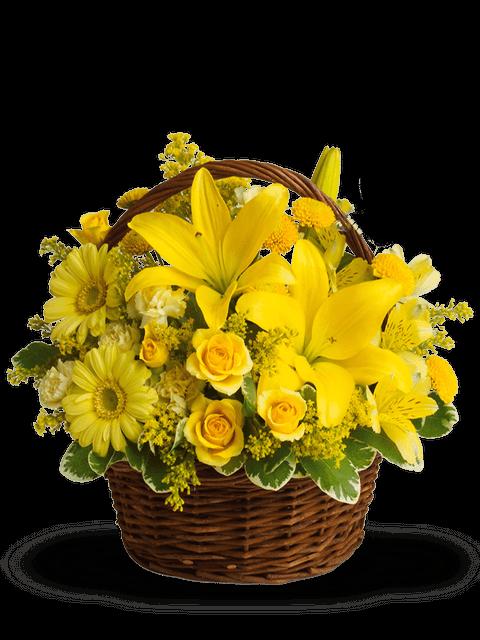 cesto di rose gialle