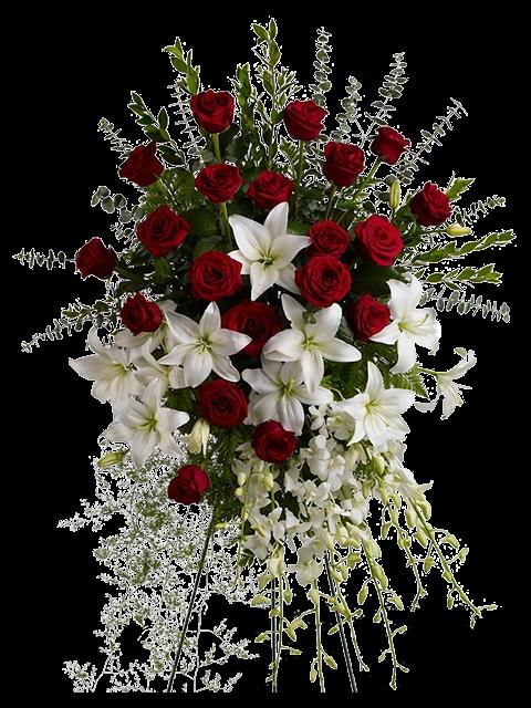 cuscino per funerale di rose rosse