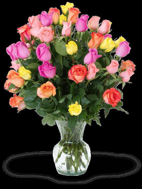 mazzo di rose colorate