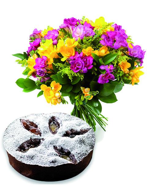 lisianthus con torta cioccolato e pere