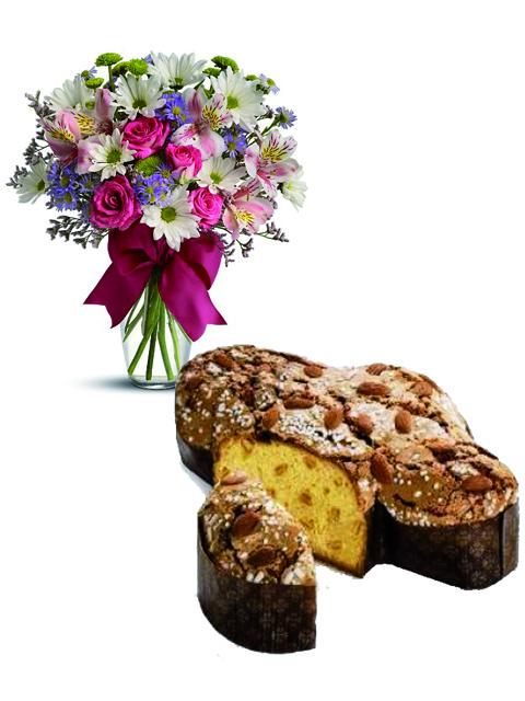 colomba pasquale e bouquet di fiori misti