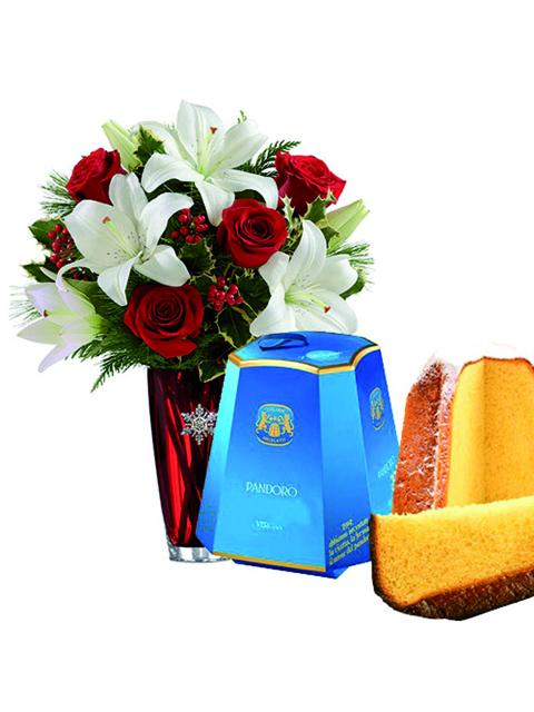 mazzo di lilium rose e pandoro