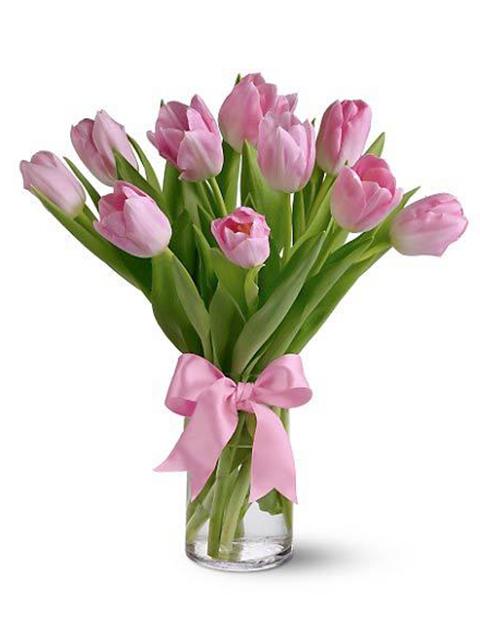 bouquet di tulipani rosa a domicilio